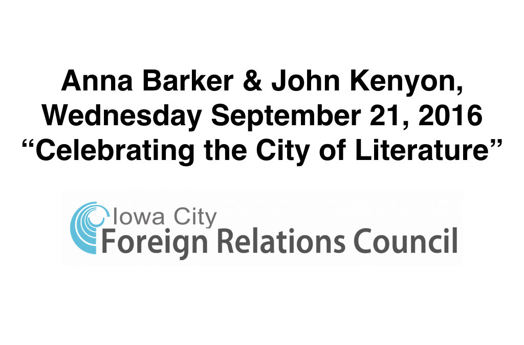 Iowa City Foreign Relations Council Event – 21 Sep 2016