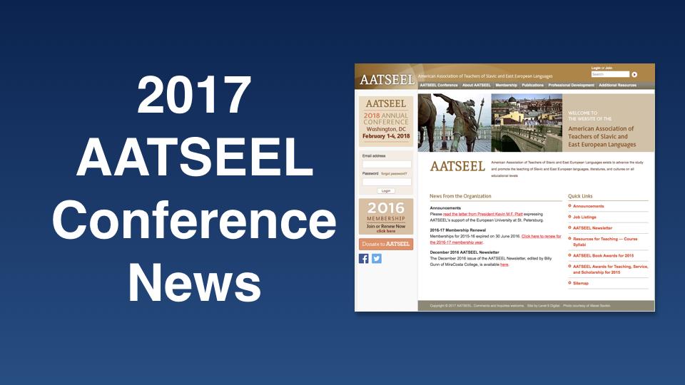 AATSEEL – American Association of Teachers of Slavic and East European Languages on 2-5 February 2017