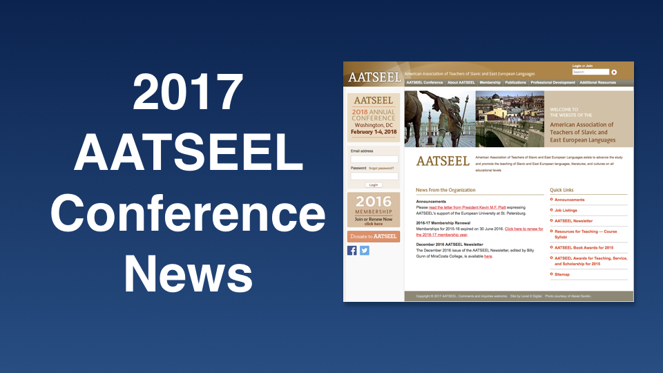 AATSEEL – American Association of Teachers of Slavic and East European Languages on 2-5 February 2017